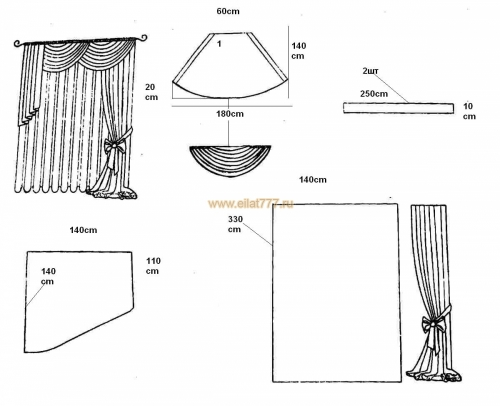 Как сшить шторы ламбрекены схема 76